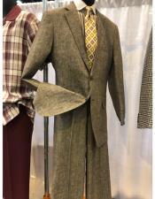 button chest pocket notch lapel beige men's suit