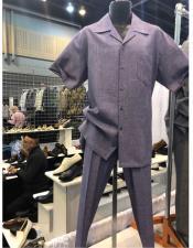 King Mens Casual Walking Suit Shirt & Pants Light
