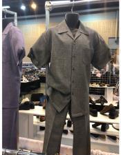 King Mens Casual Walking Suit Shirt & Pants Grey
