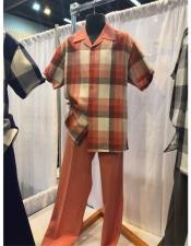 King Mens Casual Walking Suit Shirt & Pants Salmon