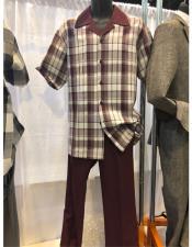 King Mens Casual Walking Suit Shirt & Pants Brown