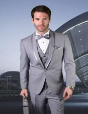 Grey 1-Button Shawl Tuxedo Vested Trimmed Vested Tuxedo Grey