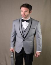 Grey 1-Button Shawl Tuxedo