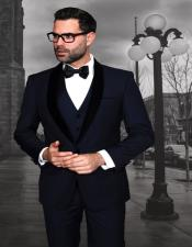 Mens Modern Fit 1 button Navy Tuxedo with Black