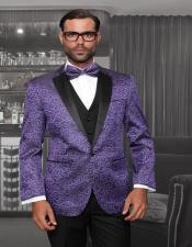 Purple 1-Button Notch Black and Purple Tuxedo