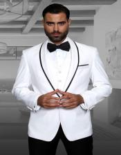 White 1-Button Shawl Tuxedo - 3 Piece Suit For