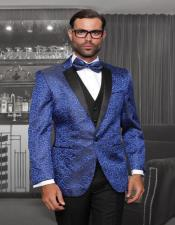 Royal Blue 1-Button Notch Tuxedo - 3 Piece Suit
