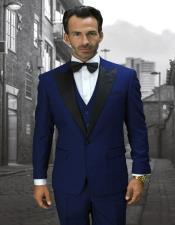 Sapphire 1-Button Peak Tuxedo - 3 Piece Suit For