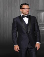 Indigo 1-Button Shawl Tuxedo - 3 Piece Suit For