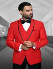 Red 1-Button Shawl Tuxedo - 3 Piece Suit For