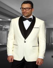 Cream 1-Button Shawl Tuxedo - 3 Piece Suit For
