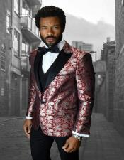 IV Red 1-Button Peak Tuxedo - 3 Piece Suit