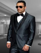 Blue 1-Button Shawl Tuxedo - 3 Piece Suit For