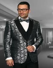 IV Black 1-Button Peak Tuxedo - 3 Piece Suit