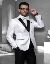 White 1-Button Notch Tuxedo - 3 Piece Suit For