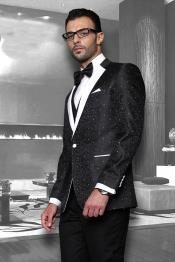 Black 1-Button Notch Tuxedo - 3 Piece Suit For