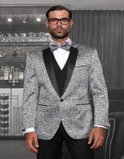 Black and Silver Suit 1-Button Notch Tuxedo - 3