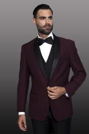 Burgundy 1-Button Shawl Tuxedo - 3 Piece Suit For