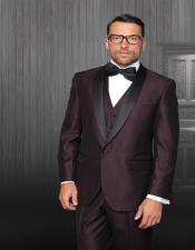 Enzo Plum 1-Button Shawl Tuxedo - 3 Piece Suit