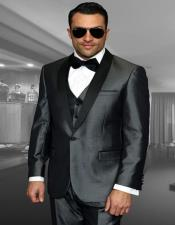 Grey 1-Button Shawl Tuxedo - 3 Piece Suit For