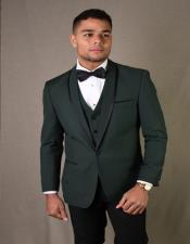Hunter Green 1-Button Shawl Tuxedo - 3 Piece Suit