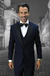 Navy 1-Button Peak Tuxedo - 3 Piece Suit For