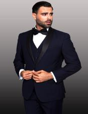 Navy 1-Button Shawl Tuxedo - 3 Piece Suit For