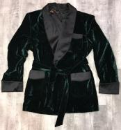One Button Double Breasted Green Velvet Suit for Men