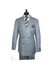 Double Breasted Button Closure Gray Checked Pattern Suit