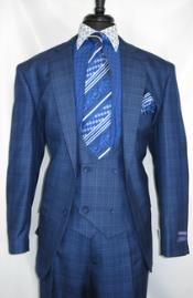Vinci #V2Rw-7 -BluePlaid- Vested Mens 1930