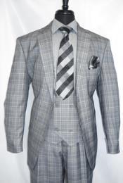 -GreyPlaid- Vested Mens Suit