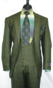-OliveGreen- Plaid Vested Mens Suit for Men