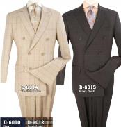 Double Breasted Brown ~ Tan Suit With Semi Wide