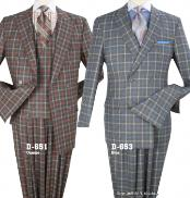 Double Breasted Blue ~ Orange Checked Pattern Suit With