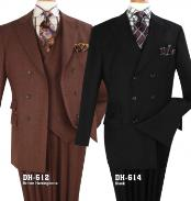 Double Breasted Black ~ Brown Suit With Pleated Pants