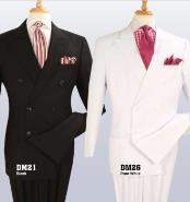 Double Breasted Black ~ White Suit With Double Pleated