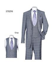 Plaid ~ Windowpane Vested Suit with Double Breasted 3
