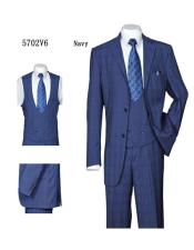 Plaid ~ Windowpane Vested 3 Piece Suit with Double