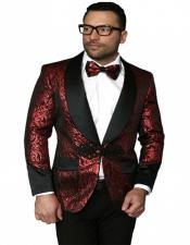 mens Single Breasted Shawl Label Red