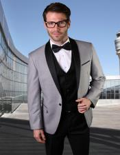 1 Button Shawl Collar Two Toned Gray Tuxedo Dinner