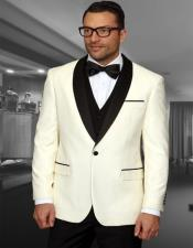 1 Button Shawl Collar Two Toned Cream Tuxedo Dinner