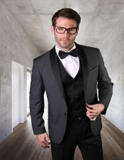1 Button Shawl Collar Two Toned Charcoal Tuxedo Dinner
