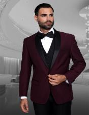 1 Button Shawl Collar Two Toned Burgundy Tuxedo Dinner