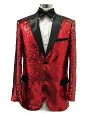 Two Button Single Breasted Red Suit For Men Perfect
