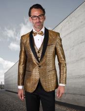 Mens Gold One Button Suit Tuxedo