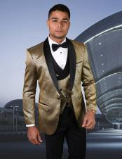 One Button Single Breasted Gold Suit or Tuxedo