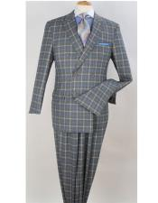 Double Breasted Checked Pattern Peak Lapel Gray Suit