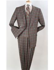Orange Peak Lapel Double Beasted Checked Pattern Suit