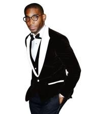 Mens Black Tuxedo Two Button Two