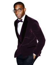 Two Button Purple Peak Lapel Black and Purple Tuxedo